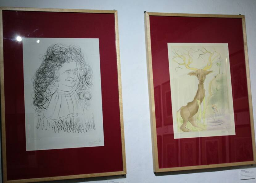 Salvador Dali, portrait de Jean de la Fontaine et illustration d'une fable